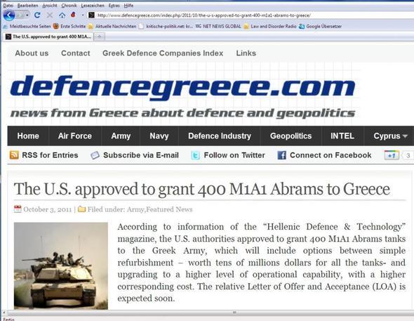 Griechenland kauft 400 US-Panzer 3.Okt2011 - (Politik, Militär, Griechenland)