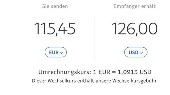 - (Geld, Bank, PayPal)
