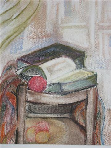 Bücher auf dem Stuhl - (Schule, Kunst, malen)