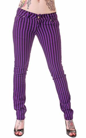 Röhren Jeans Lila Pinstripe - (Mode, Kleidung, Hose)