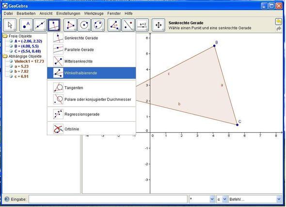 """Die Funktion """"Winkelhalbierende""""; einfach die drei Punkte auswählen. - (Geometrie, GeoGebra)"""