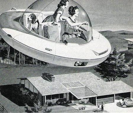 Schwebeauto für die Familie (Zukunftsaussicht aus den 1950er Jahren) - (Auto, fliegen, Fliegendeautos)