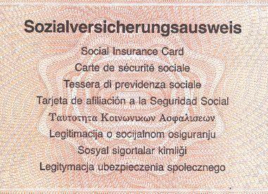 Vorderseite des Sozialversicherungsausweises - (Beruf, Sozialversicherung, Sozialversicherungsnummer)