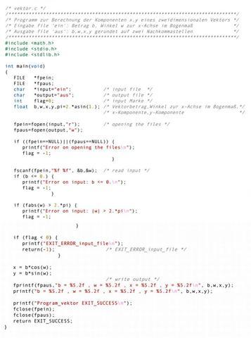 c programm 2 dimensionalen vektor berechnen pc mathematik programmieren. Black Bedroom Furniture Sets. Home Design Ideas