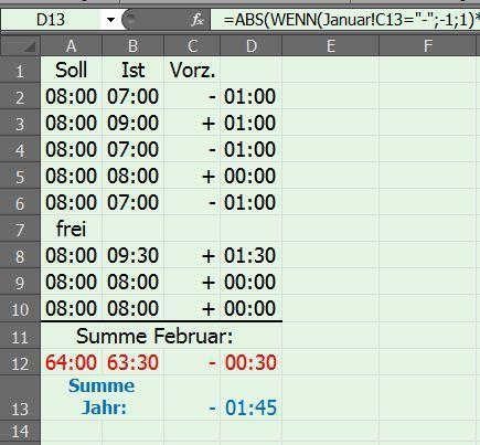 Tabelle:   Februar - (PC, Excel)