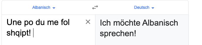 Was heißt Albanisch ,,fol auf Deutsch? (Sprache)