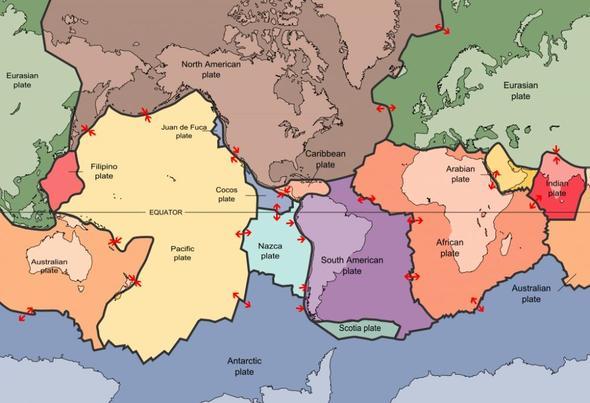 Welche Platten Der Erde Driften Auseinander/aufeinander