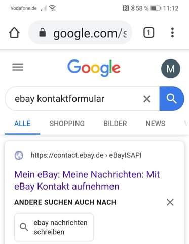 Weiss jemand wie ich an Ebay eine Nachricht schreiben kann?