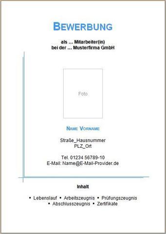 Deckblatt für Bewerbungsmappe - (Bewerbung, nett, Deckblatt)