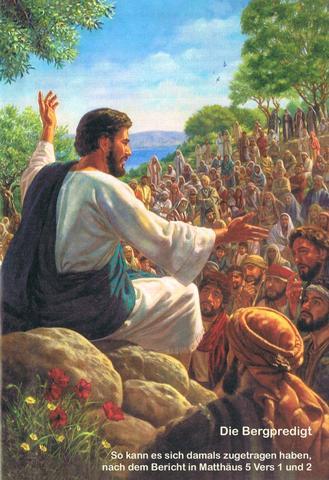 Jesus und die Bergpredigt  -  so wird es geschildert - (Christentum, Glaube, evangelisch)