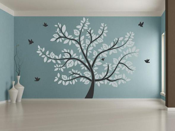 Wand farbig gestalten (Farbe, Kunst, heimwerken)