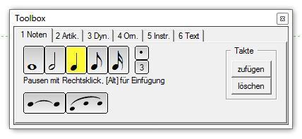 Die Toolbox in PriMus - (Musik, Notenprogramm, Primus)