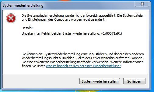 systemwiederherstellung-fehler - (Computer, PC, Windows)