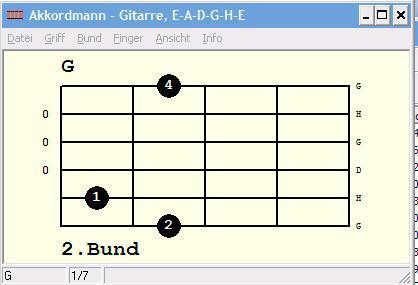 G-Dur-Griffbild - (Gitarre, Akkorde)