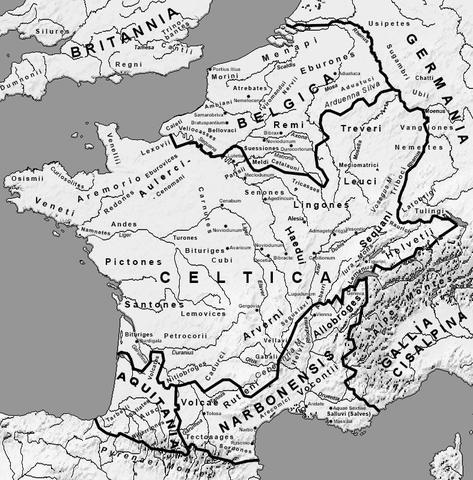 Übersichtskarte - romatisiertes Gallien - (Geschichte, Latein, Rom)