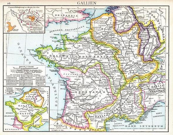 Karte - römisches Gallien, farbig - (Geschichte, Latein, Rom)