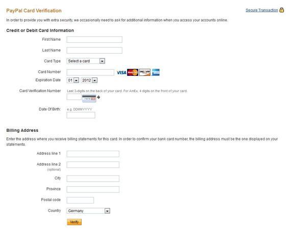 Screenshot der PayPal Card Verification - (Ebay, PayPal, überweisung)