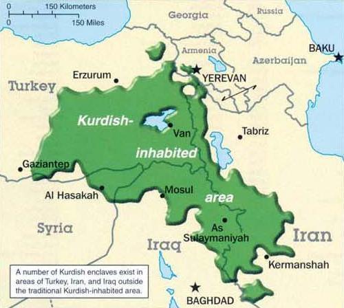 Kurdische Siedlungsgebiete in ca. 5 Ländern - (Geschichte, Politik)