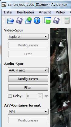 Avidemux - H264 PCM MOV zu H264 AAC Mp4 - (Video, Videobearbeitung, bearbeiten)