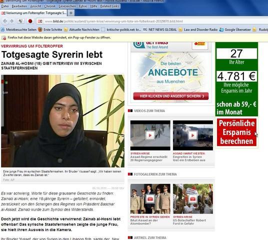 BLÖD-Zeitung ist verwirrt-von Assad geköpfte Frau redet im syrischen TV-ZAINAB A - (Geschichte, Lügen)