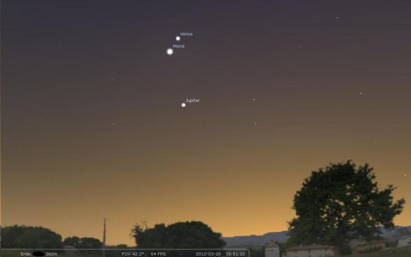 Mond mit Venus - (Astronomie, Sterne, Mond)