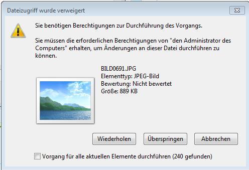 Das kommt übrigens auch bei den Bilddateien, nicht nur bei thumbs.db - (Windows 7, externe Festplatte, Zugriff)