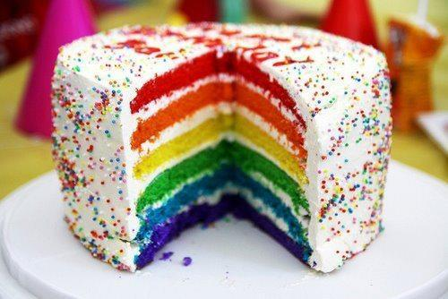 Regenbogenkuchen - (Farbe, Kuchen, bunt)