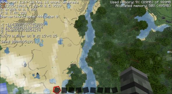 Wüste direkt neben einem Jungel, getrennt durch einen Fluß. - (Minecraft, Außenseiter, Seed)