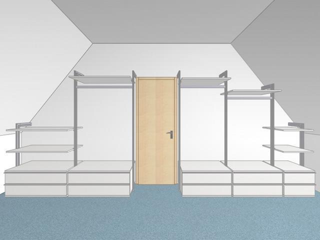 Begehbarer Kleiderschrank inder dachschräge (Bilder, Tipps)