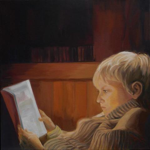 starke Lichteffekte auf dem Haar -vor dunklem Hintergrund - (Kunst, malen, Malerei)