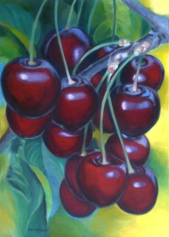 Glanzeffekte auf den Süßkirschen - (Kunst, malen, Malerei)