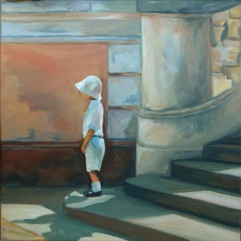 Junge auf Treppe mit Sonnenlicht - (Kunst, malen, Malerei)