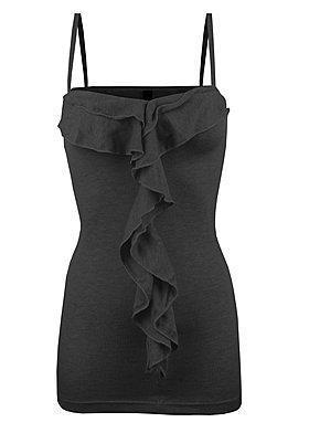 Volants Top mit Trägern in schwarz - (Mädchen, Frauen, Mode)