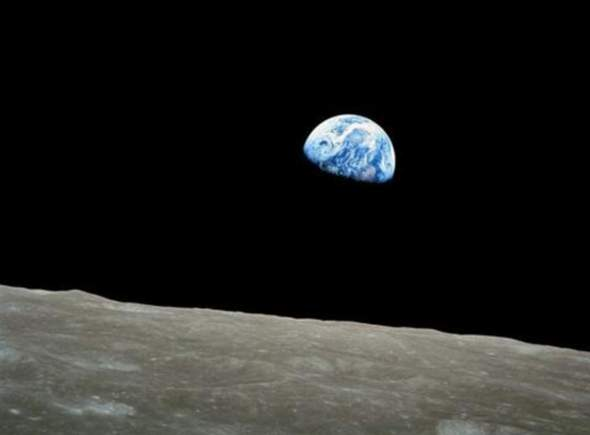 Can you see the earth in the moon?
