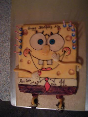 Spongebob kuchen mit marzipan