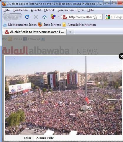 Syrien- riesige ProAssad Demonstrationen überall- hier Aleppo 1 Million - (Schule, Freizeit, Referat)