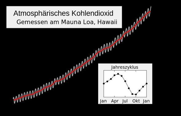 CO2-Konzentration, Keeling-Kurve - (Beruf, Klimawandel, Treibhauseffekt)