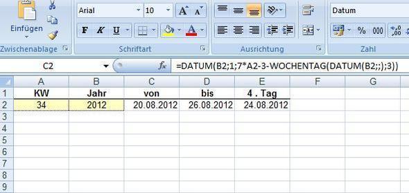 Datum aus KW - (Excel, Datum, Wochentage)