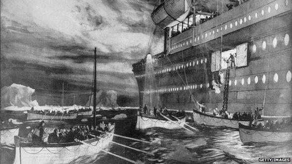 Eine Zeichnung wie die Passagiere aufgenommen werden - (Freizeit, Titanic, Geschichte schreiben)