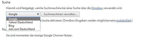Suchmaschine in Chrome festlegen - (google-chrome, einrichten, Standard Suchmaschine)
