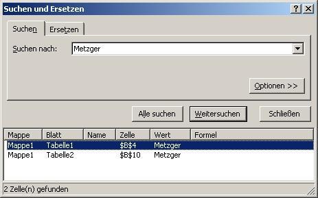 Suchen über mehrere Tabellenblätter - (Excel, durchsuchen)