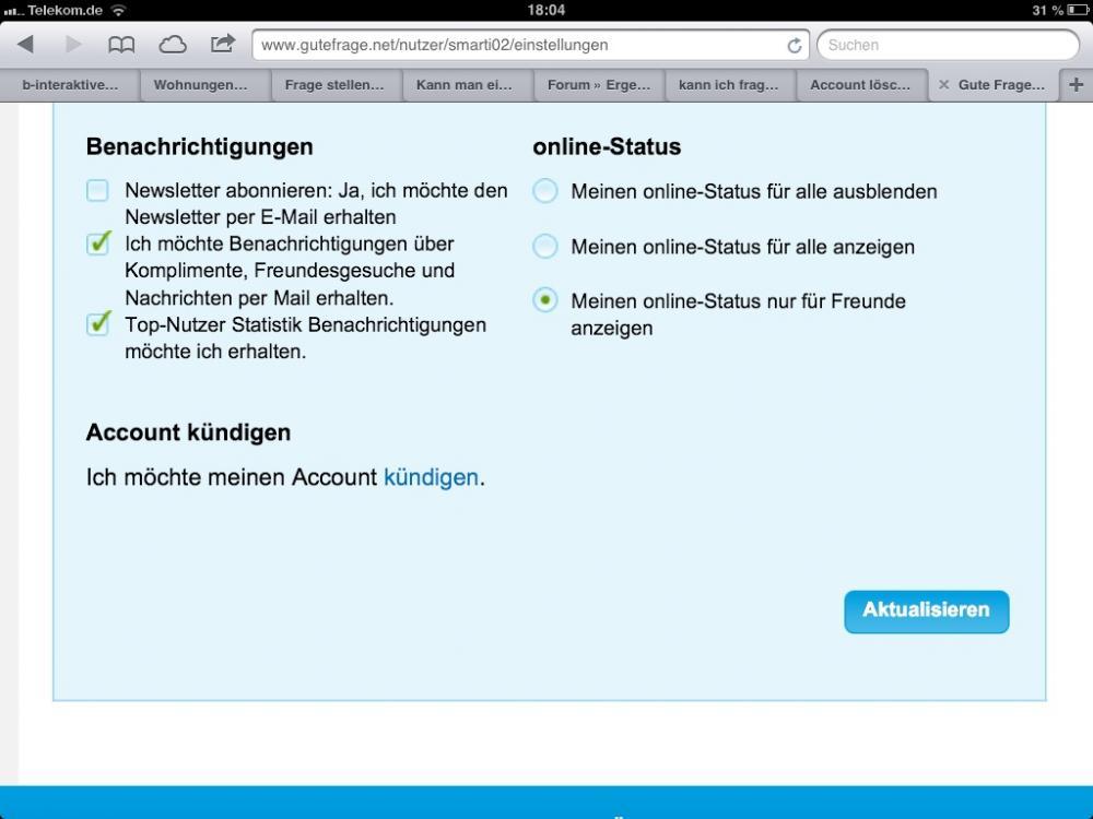 Account löschen bei gutefrage.net (Account-loeschen)