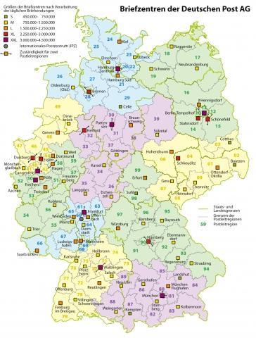 Karte Briefzentren Deutsche Post AG - (Post, Briefzentrum)