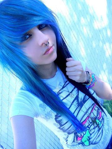 Blaues Scene Hair - (Frisur, Emo)