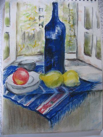 Blaue Flasche auf jugoslawischem Teppich - (zeichnen, Malerei)