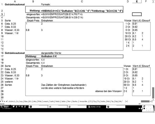 Excel-Formelschema Getränkeautomat - (Excel, Tabellenkalkulation, getränkeautomat)