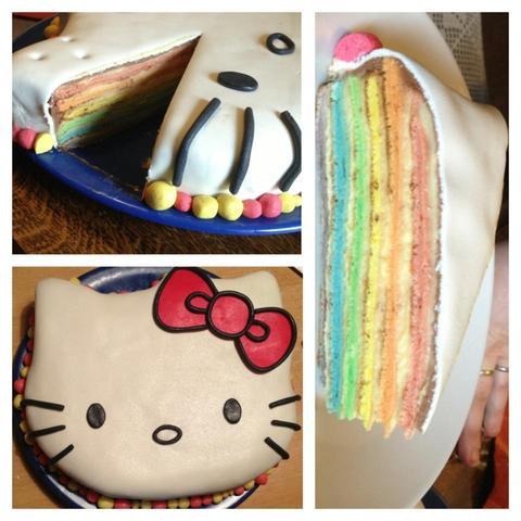 Hello Kitty Regenbogentorte (mit Fondant und Marzipan) - (backen, Kuchen)