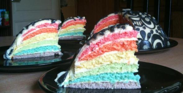 Regenbogen-Torte mit Marzipan - (backen, Kuchen)