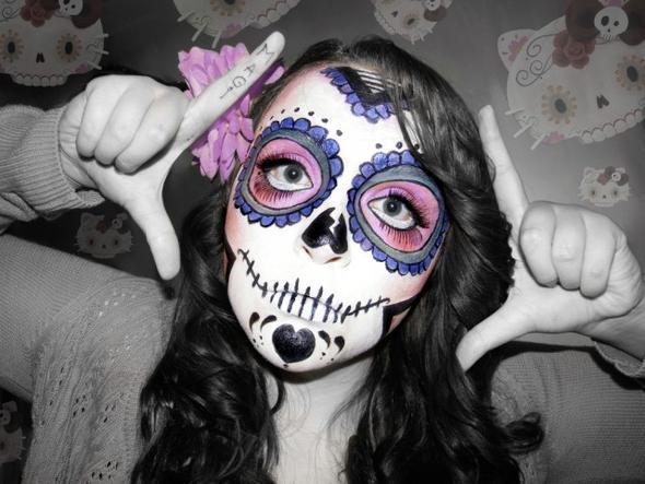 Bunter Totenkopf - (Kostüm, Halloween)