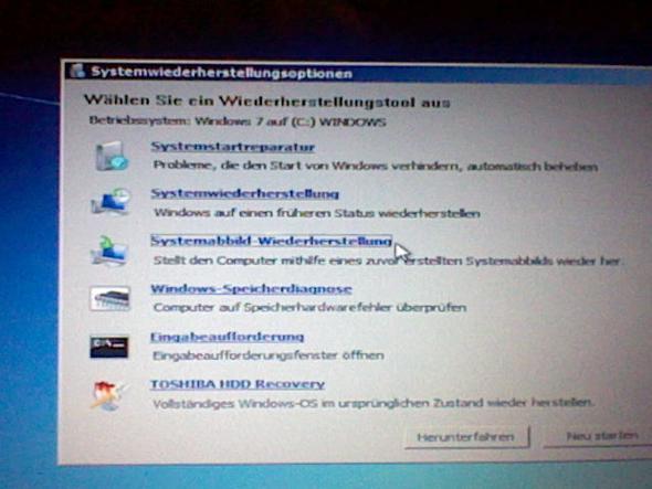 Schritt 1. Auf Systemabbild Wiederherstellung - (PC, Acer, Absturz)